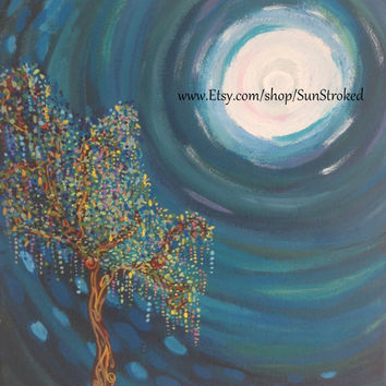 PRINT, Magical Tree In Full Moon, abstract acrylic energy painting, Free shipping
