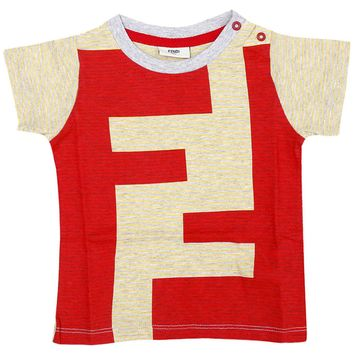 Fendi Baby Boys Red and Yellow 'FF' Logo T-shirt