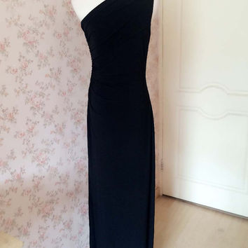 Black One Shoulder Prom Dress, Split Maxi Prom Dresses. Black Sheath Wedding Dress Bridesmaid Dress. Black Gowns Reception Dress. Plus(WD04)