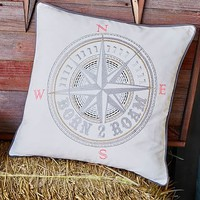 Junk Gypsy Born To Roam Compass Pillow Cover