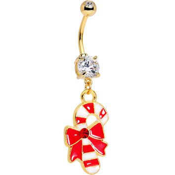 Red CZ Gem Gold Tone Anodized Bow Candy Cane Dangle Belly Ring