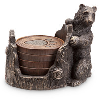 Bear Figurine Coaster Case and Paw Coaster Set by SPI-HOME