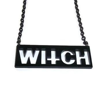 Witch Necklace, Inverted Cross, Grunge, Goth, 90s, Laser Cut Black Pendant, Perspex