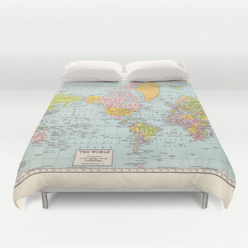 World Map Duvet Cover - bed - bedroom, travel decor, cozy soft, pastel, winter, warm, wanderlust