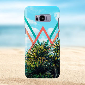 Pastel Chevron x Summer Palm Tree, iPhone 7, iPhone 7 Plus, Rubber iPhone Case, Galaxy s8, Samsung Galaxy s8 Plus, Google Pixel, CASE ESCAPE
