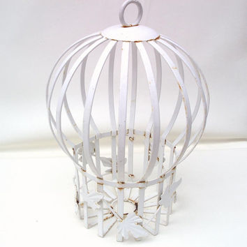 Vintage Wrought Iron Garden Orb Globe Cage Hanging Lantern Metal Card Holder White Planter