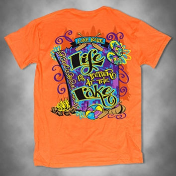 Sweet Thing Funny Life is Better at the Lake Babe Southern Girlie Bright T Shirt