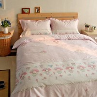 MY MELODY PINK Color QUEEN SIZE DOUBLE BED SHEET SET 4 PCS Cotton Bedding set