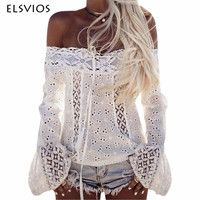 ELSVIOS Lace Stitching Blouses Sexy Hollow Out Off Shoulder Blouses Shirts Long Flare Sleeve White Black Cotton Blusa Women Tops