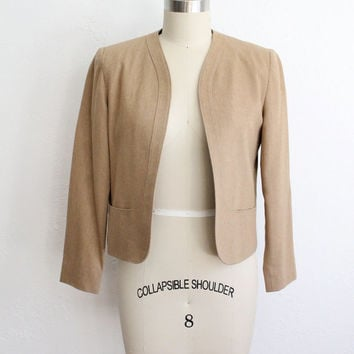 Vintage 80s Tan Wool Blazer // Women's Cropped Petite Fall Suit Jacket