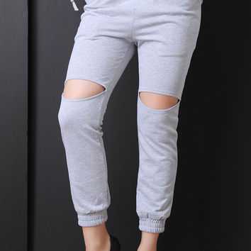 French Terry Cut Out Drawstring Jogger Pants