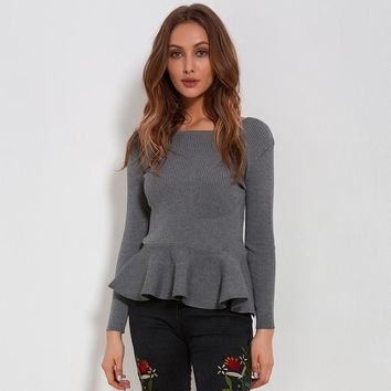 Ruffle Knitted Peplum Long Sleeve Sweater