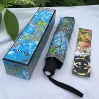 Gucci Trending Women Men Print Folding Umbrella Sky Blue