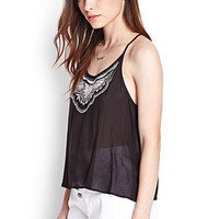 FOREVER 21 Y-Back Embroidered Cami Black/Cream