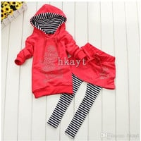 Children's Sets/Baby Sets/2014 New girls hoodies+striped skirt pants leggings 2pcs clothing sets/Children's clothing