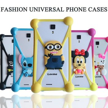3D Cute Minions Stitch Soft Silicon Rubber Case Back Cover for Micromax bolt D320 DEXP Ixion X155 INew V3 Plus Just5 Freedom X1