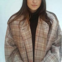Plaid Wool Coat, Oversize, Blanket Coat, Camel Plaid / one size