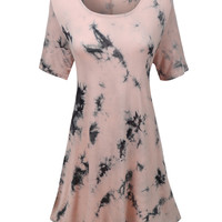LE3NO Womens Tie Dye Scoop Neck Short Sleeve Flared Dress (CLEARANCE)