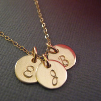 Round 3 Initial Necklaces, Triple Gold Initials, Gold Discs, 3 Sisters Jewelry