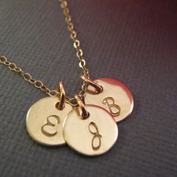 Best 3 sisters jewelry products on wanelo round 3 initial necklaces triple gold initials gold discs 3 sisters jewelry mozeypictures Image collections