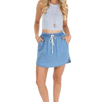 Denim Drawstring Skirt
