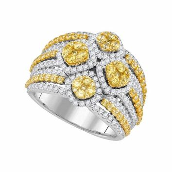 14kt White Gold Women's Round Natural Canary Yellow Diamond Fashion Ring 2-7-8 Cttw - FREE Shipping (US/CAN)