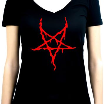 Red Thorn Jagged Inverted Pentagram Women's V-Neck Shirt Top Occult Clothing