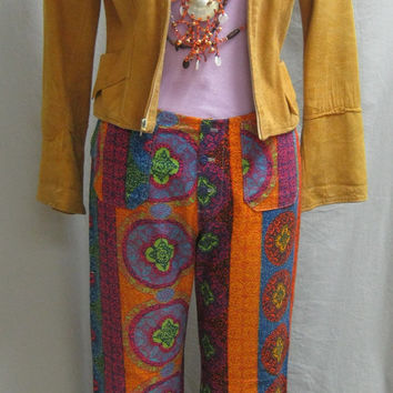 "Killer Authentic Vintage 60s BELL BOTTOM Slacks Psychedelic Batik Print Hippie Style JEANS 35"" x 29"""
