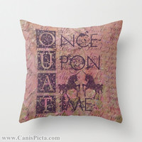 Once Upon a Time Throw Pillow Television Show Unicorn 16x16 Graphic Decor Cover TV Pop Culture Fairy Tale Mythical Purple Magenta Equine Fun