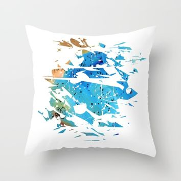Abstract Acrylic Painting Broken Glass BLUE AND BROWN Throw Pillow by Saribelle Inspirational Art | Society6