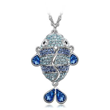 "♥Valentines Day Gifts with Swarovski Crystals♥ J.NINA ""Enchanted Fish"" Charming Sapphire Jewelry, Women Pendant Necklace"