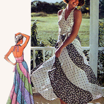 Vintage 70s Sewing Pattern Simplicity 6312 Vintage Wrap Halter Top, Fitted and Flared Bias SWIRL American Hustle Sz 12-14 B34-36 UNCUT