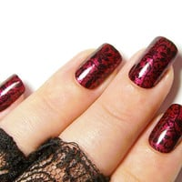 Short False Nails - Red, Black Lace Press On Full Cover Nail Set - Gothic Fake Nails - Sexy Burlesque Glue On Nails - Stick On Acrylic Nails