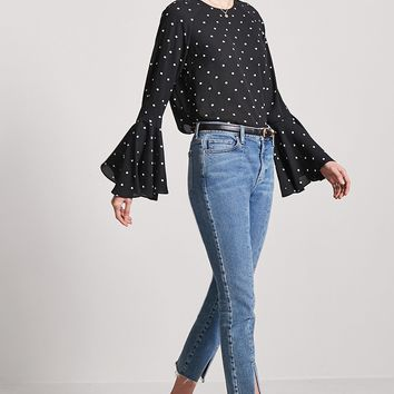 Polka Dot Flare Sleeve Top
