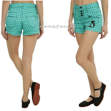 Licensed cool Disney The Little Mermaid Ariel Polka Dot High-Waisted Shorts JRS Size 0 & 1 NEW