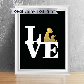 Shiny Foil Print Book Lover Print, Book Nerd Wall Art, Reading Lovers, Personalized Book Lover Gift.
