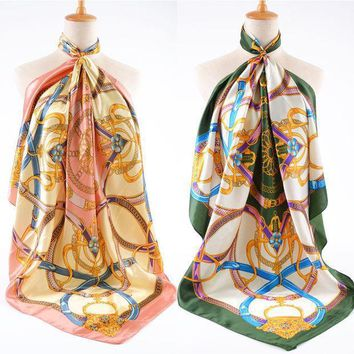 Top Quality !!! Fashion Women Brand Silk Scarf Chiffon Vintage Chain Pattern Large Facecloth Women's Square Scarf Cape