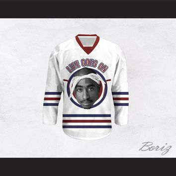 Tupac Shakur 6 Life Goes On White Hockey Jersey