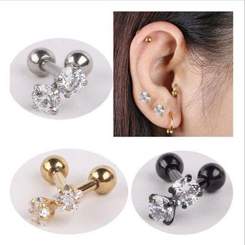 ac ICIKO2Q Isayoe 2 piece 316L Stainless Steel Zircon Tragus Earring Helix Barbell Ear Piercing Cartilage Ring Jewelry For  Women