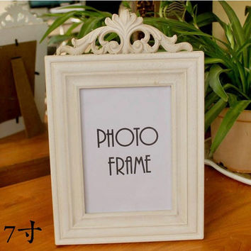 Retro Vintage Plain Beige Home Decoration Photo Frame Picture Frame Resin 5'' x 7''