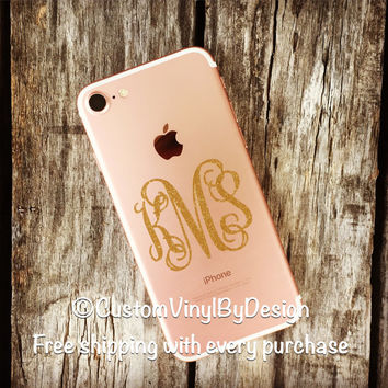 Ships Free! iPhone 7, iPhone 7 Case Monogram, iPhone 7 Monogram, iPhone 7 Sticker, iPhone 7 Decal, Otterbox Decal, Phone Monogram