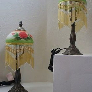 Tiffany Lamp Set Fringed & Beaded Floral Designs with Metal Base