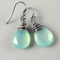 Seafoam Aqua Blue Chalcedony Oxidized Sterling Silver Simple Everyday Drop Earrings
