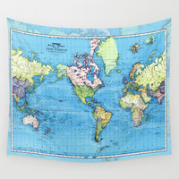 Mercator Map of Ocean Currents Wall Tapestry by Catherine Holcombe