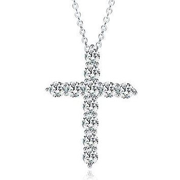 Dainty Crystal Cross Pendant Necklace