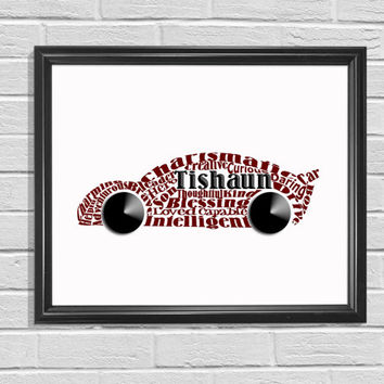 Car Print Word Cloud Printable Art Kids Bedroom Art Red Print