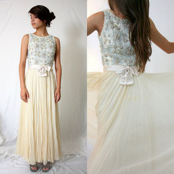 Evening Gown Formal Dress - Bob Bugnand Silk Chiffon - Cream Tiffany Blue Beaded Sequin - Winter Wedding - Mad Men - Extra Small