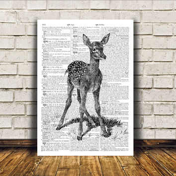 Baby deer poster Wall decor Animal art Dictionary print RTA394
