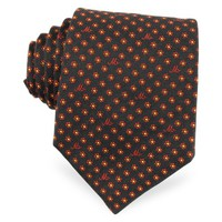 Moschino Designer Ties Moschino Symbols and Little Flowers Print Silk Tie