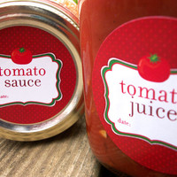 Tomato Juice, Sauce, Salsa, Spaghetti Sauce Canning labels, round red stickers for mason jars, Tomatoes, food preservation